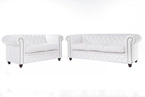 The Chesterfield Brand-Set divani Chester Brighton Bianco -2/3 posti -Pelle vera-Fatto a mano