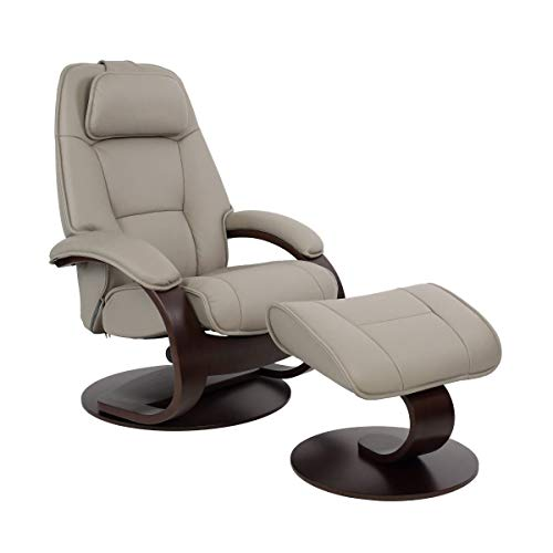 Fjords Admiral Large Ergonomic Recliner Chair with Ottoman in Cement Astro Line Premium Leather with a Charcoal Wood Stain Base
