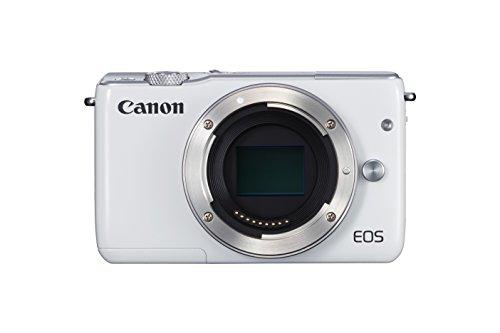 Canon EOS M10 Systemkamera (18 MP, 7,5cm (3 Zoll) Display, STM, WLAN, NFC, 1080p, Full HD, nur Gehäuse) weiß