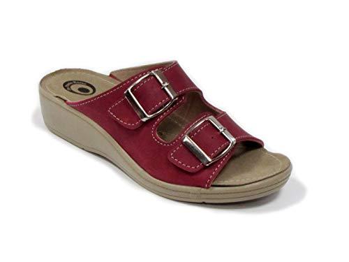 Dr Punto Rosso D654 Komfortschuhe Sandalette Pantolette Clog Damen, Dunkelrot, EU 36