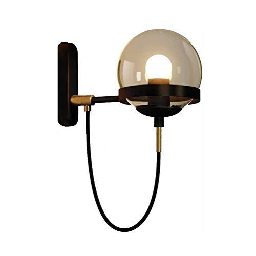 YLLN Lámpara de Pared de Bola de Cristal, Apliques de Pared Americanos Simples y Modernos para iluminación Decorativa de Dormitorio de Sala de Estar de Restaurante (Color: Negro)