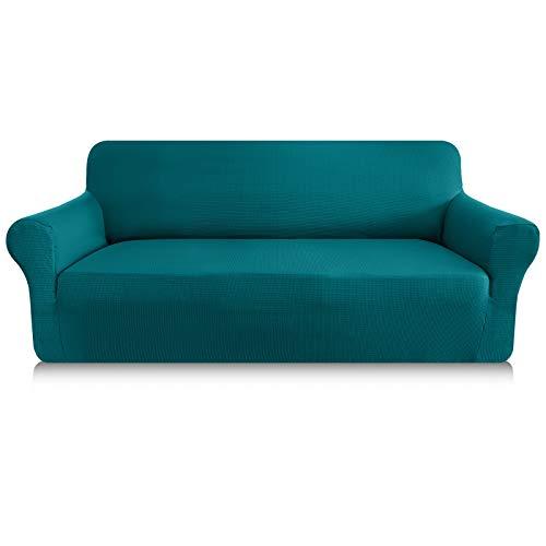 Granbest Sofabezug, dick, 1 Stück, dehnbar, 3-Sitzer, rutschfest, für Sofa, Möbelschutz, Stoff Spandex Jacquard (3-Sitzer, blau-grün)