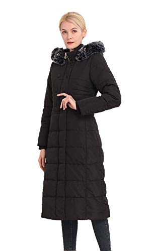 Polydeer Women's Puffer Jacket Max Long Thickened Hooded Coat Vegan Down Winter Parka (Black, S)
