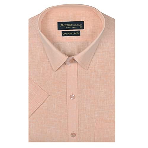 ACCOX Men's Half Sleeves Regular Fit Cotton Linen Formal Plain Shirts(GCR41)