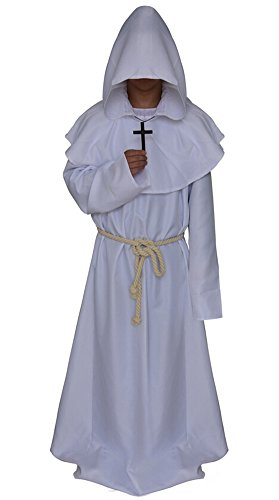 Medieval Monk Robe Cosplay Halloween Hooded Cape Costume Cloak White X-Large