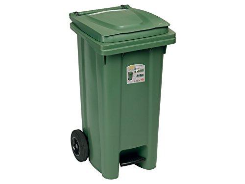 Stefanplast 6435 Bidone Immondizia con Ruote con Pedale, Verde, 48 x 55 x 94 cm