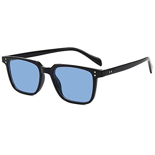 SHEEN KELLY Tony Stark Gafas de sol cuadradas con marco de material polarizado para hombres y mujeres, gafas de sol clásicas Downey Iron Man lentes de vidrio, Morado (negro 1), Talla única