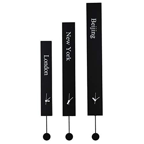 XM&LZ Silencioso Reloj De Pared Moderno,Hora Mundial Cuarzo Relojes Rectángulo Pilas Metal Relojes De Pared para El Hogar Dormitorio Salón Oficina A