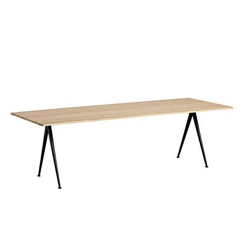HAY Piramid tafel 02 tafel 250x85cm, mat eiken gelakt frame zwart gepoedercoat H 74cm