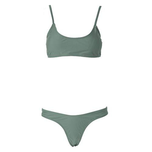 Haptian Frauen einfarbig gepolsterter BH G-String Tanga Bikini Bademode Zwei Stücke Badeanzug(Heer Grün-M-1einstellen)