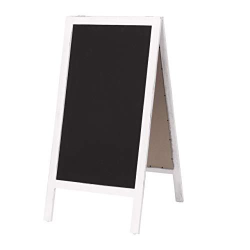 Mendler XL Werbetafel HWC-C17, Aufsteller Kreidetafel Kundenstopper, 2 Schreibflächen klappbar, 100x50cm ~ weiß Shabby