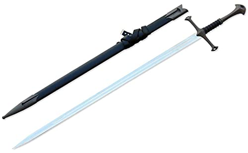 Medieval Crusader Sword with Scabbard. Dull Edge for Collection, Gifts and Cosplay (King)