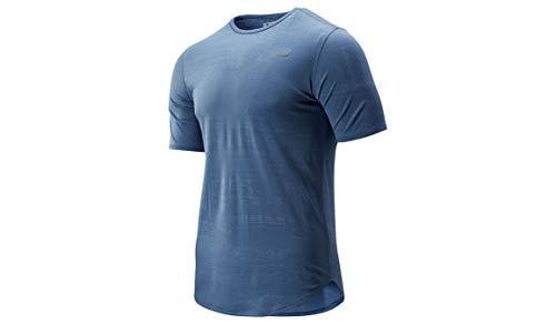 New Balance Camiseta para Hombre Q Speed Breathe SS, Chambray, Talla pequeña