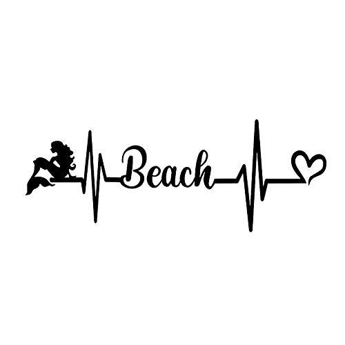 JYIP Car Window Funny Vinyl Decal 16x6cm Beach Heartbeat Logo JDM YELLOW Vinyl Decal