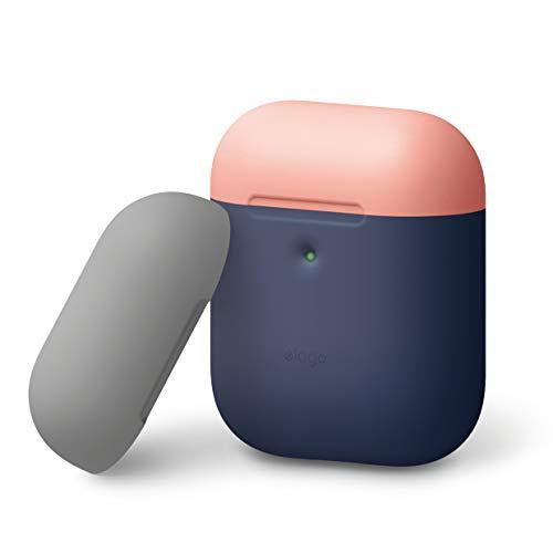 elago A2 Duo Silikonhülle kompatibel mit Apple AirPods 2 Wireless Hülle (LED an der Frontseite sichtbar) - [Unterstützt kabelloses Laden] (ohne Karabiner, Indigoblau/Pfirsichfarbe, Mittelgrau)