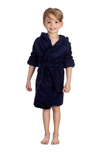 elowel | Kinder (Jungen und Mädchen) | Bademantel | Morgenmantel | Hausmantel | Fleece - Flauschig | 100% Polyester | Mit Kapuze, Gürtel | Größe: 3 Jahre | Design: Dunkelblau | Farbe: Blau