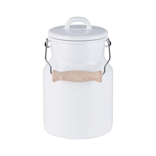Riess, 0457-033, Oma's Milchkanne 1,5L, CLASSIC WEISS, mit Emaille-Deckel und Holzgriff, Höhe 19,2 cm, weiß