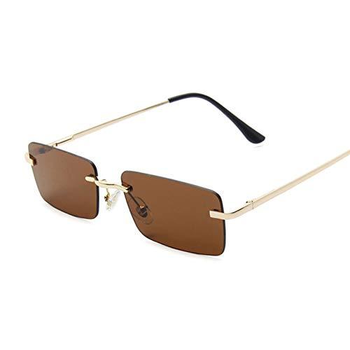 QYV Gafas de Sol cuadradas rectangulares pequeñas Vintage para Mujer, Gafas de Sol de Espejo de Metal Coloridas para Mujer de Lujo,Gold Dark Brown