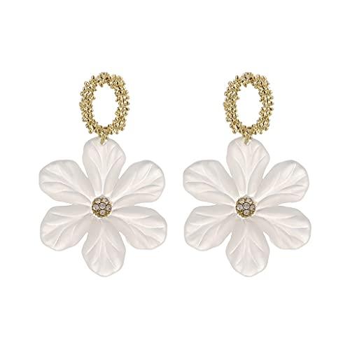YWSZJ Pendientes de Flores Simples Nuevos Pendientes de Moda Frescos de Moda Pendientes de Temperamento Femenino Pendientes de Flor de Resina Aguja de Plata