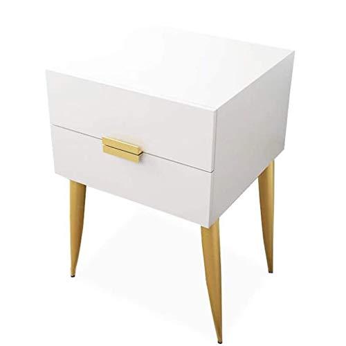 FENXIXI El Blanco representa Moderna, de Noche Mesa Auxiliar con cajón for el Dormitorio, la Sala de Estar Mesa Lateral, pies de fundición de Hierro Silla