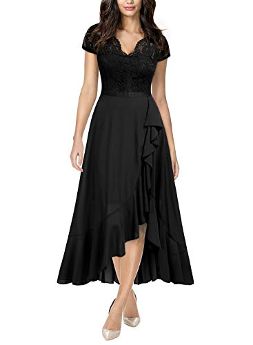 Miusol Women's Formal Floral Lace Ruffle Cocktail Party Dress,Small,C-Black