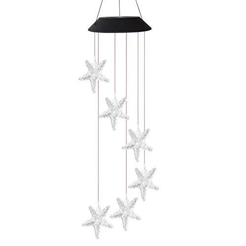 happygirr Lámpara solar LED colorida y duradera con carillón de viento, lámpara de techo inteligente controlada por la luz al aire libre, con cambio de color, para jardín