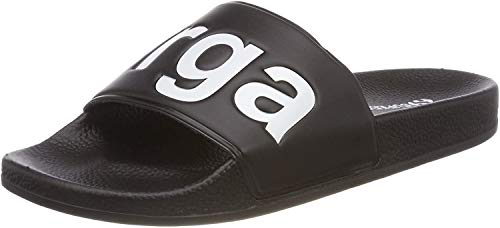 Superga Unisex-Erwachsene Slides PVC Slipper, Schwarz (Black - White) , 36 EU