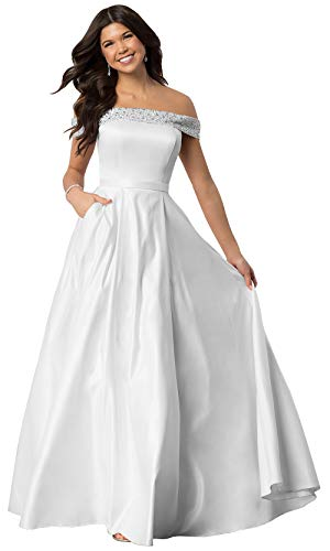 Lianai Women's Strapless Beaded Wedding Dress Off The Shoulder Satin Bridal Party Gown White,4