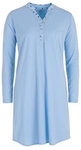 Zeitlos Nachthemd Damen Langarm Ginko Knopfleiste Schlafhemd, Farbe:hellblau, Größe:M