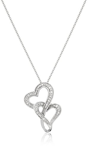 Jewelili Sterling Silver Diamond Accent Double Heart Pendant Necklace, 18 Inches