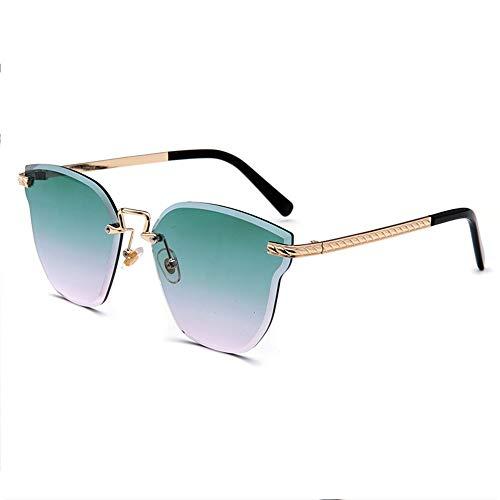 Sebasty Nuevas Gafas De Sol De Colores Sin Marco, Película Marina Que Presenta Modelos Femeninos, Orejas De Gato, Gafas De Sol De Color Cristal, Marco De Sol (Color : Green)