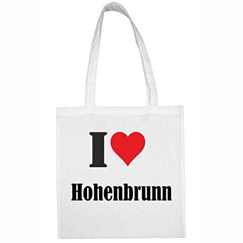 Tasche I Love Hohenbrunn Größe 38x42 Farbe Weiss Druck Schwarz