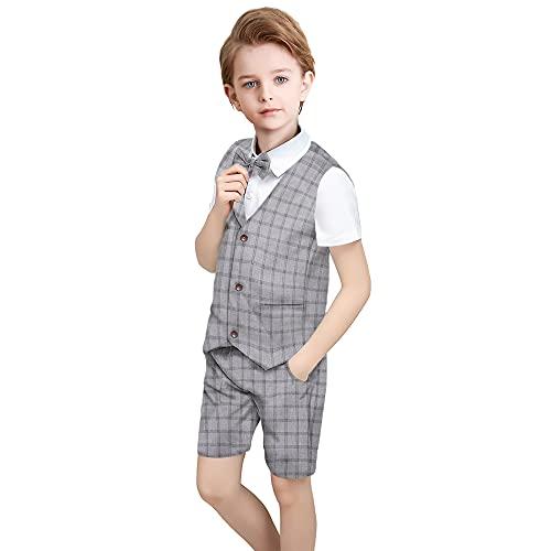 Yilaku Ensemble de costume formel pour petit garçon Tenue pour garçon d'été Chemise à manches courtes + Pantalon court et gilet Ensemble de costume à carreaux de smoking(Gris foncé,110)