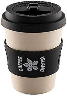 COFFEE ISLAND Reusable Coffee Cup, Black - 13L x 10W x 9H cm