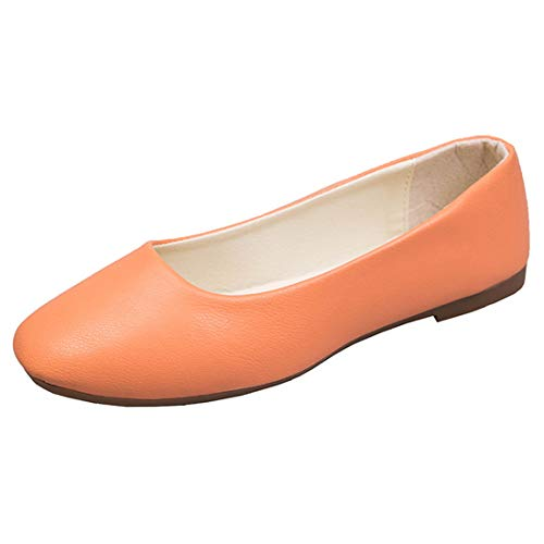 TeamWorld Ladies Stylish Slip On Flat Comfort Walking Ballerina Shoes Summer Loafer Flats, Womens Casual Ballet Flats Pumps Shoes Classic PU Plain Dolly Work Driving Flat Shoes UK Size 2.5-8 Orange