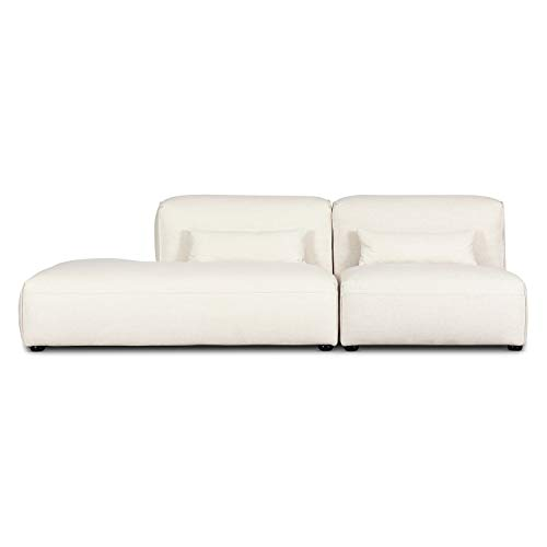 Poly and Bark Infina Left Armless Modular 2 Piece Sofa in Mist White