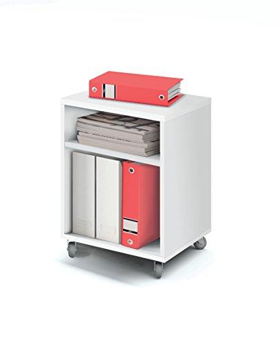 Abitti Buck cajonera con Ruedas Color Blanco Brillo y 2 estantes para Mesa Escritorio de Oficina, despacho o Estudio. 55cm Altura x 40cm Ancho x 40cm Fondo