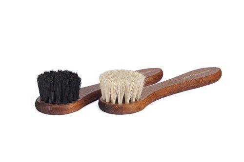 Langer & Messmer Set de 2 cepillos con 100% cerdas de crin de caballo para la limpieza y el cuidado de zapatos de piel (blanco negro)