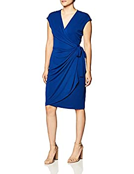 Amazon Brand - Lark & Ro Women s Classic Cap Sleeve V-Neck Compact Matte Jersey Wrap Dress Sodalite Blue Small