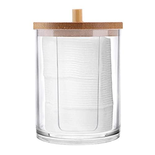 Rubeyul Dispensador de bastoncillos de algodón transparente con tapa para guardar almohadillas de algodón, almohadillas de maquillaje, almohadillas de algodón para los oídos, almohadillas cosméticas