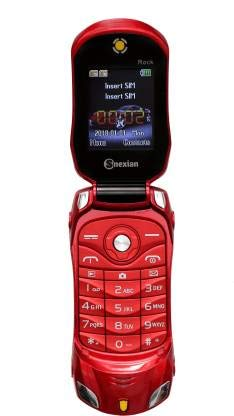Snexian Rock Car Design Keypad Flip Phone with Dual Sim - Red