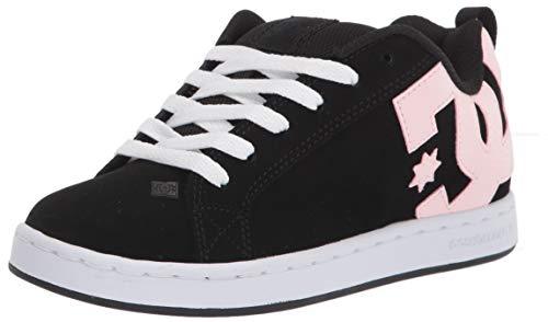 DC Women's Court Graffik Skate Shoe, Black/Super Pink, 8