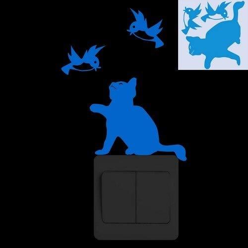 weichuang Pegatina para interruptor de luz que brilla en la oscuridad, diseño de gato luminoso y divertido para habitación de niños, decoración de dibujos animados y pájaros fluorescentes (color: LM)