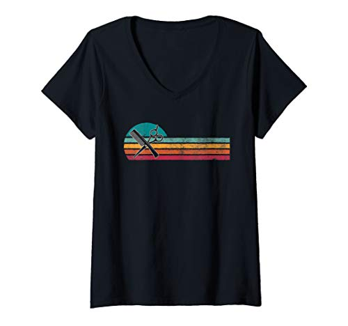 Womens Vintage Style Barber Silhouette Retro Hair Stylist 80s Gift V-Neck T-Shirt