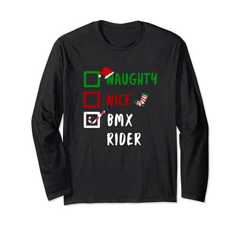NAUGHTY Nice BMX Rider, divertido regalo de Santa Manga Larga