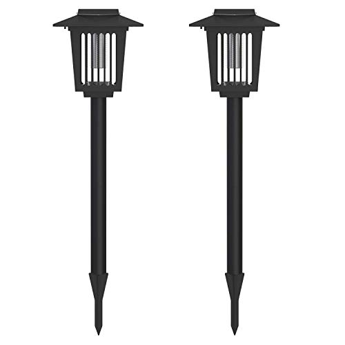 2Pack Solar Powered Bug Zapper LED Mosquito Light Insect Pest Killer Lamp for Indoor Outdoor Use
