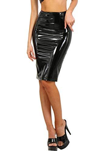 Miss Noir - Falda para mujer, brillante, metálico, aspecto mojado, longitud de la rodilla, piel sintética, con cremallera trasera Negro  M