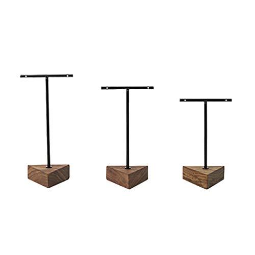 Aiglen 3 pendientes de barra en T de tres esquinas para joyas, adornos de nuez, soporte de exhibición de joyería