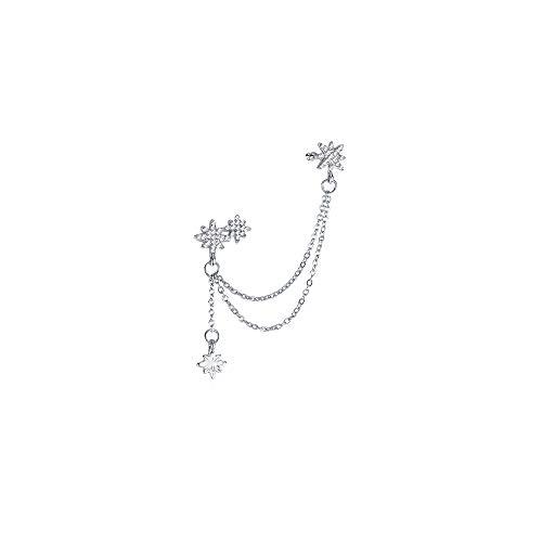 Pendientes con Cadena Plata Pendientes de Botón Estrella Cristal Puño de Oreja Mujer