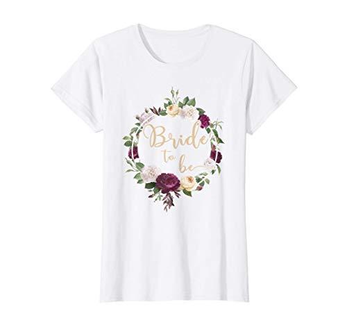 Damen Braut Bride to be Blumenkranz JGA Hochzeit Geschenk T-Shirt